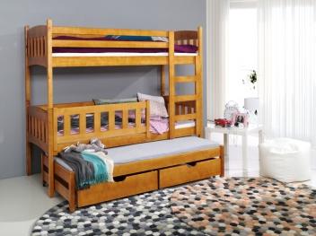Poschodová posteľ s prístelkou z masívu Arinka