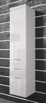 Vysoká skrinka Horace - biela/biely lesk