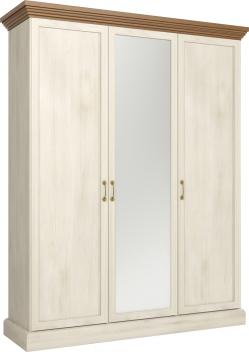 Šatníková skriňa so zrkadlom Meryl 3 - borovica nordic/dub divoký