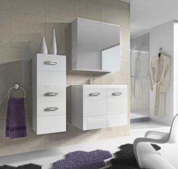 Zostava do kúpeľne Demario - biela / biely lesk