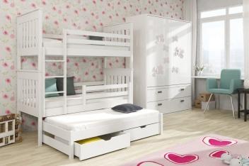 Poschodová posteľ Daisy z masívu s úložným priestorom