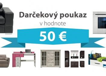 Darčekový poukaz za 50 EUR na nábytok podľa vlastného výberu - DOPRAVA ZADARMO!