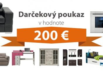 Darčekový poukaz za 200 EUR na nábytok podľa vlastného výberu - DOPRAVA ZADARMO!