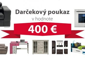 Darčekový poukaz za 400 EUR na nábytok podľa vlastného výberu - DOPRAVA ZADARMO!