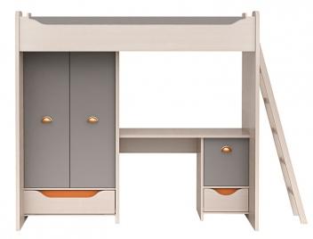 Poschodová posteľ Orango - dub svetlý belluno / sivá