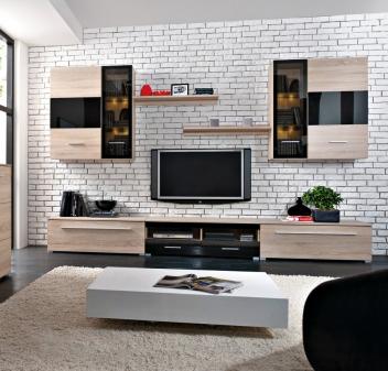 Obývacia stena Glos - dub sonoma / čierny lesk