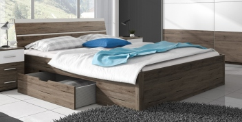 Manželská posteľ Dione - dub san remo tmavý + biela