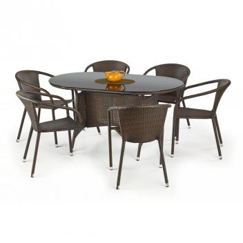 Oválny záhradný stôl Navon - tmavohnedý