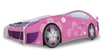 Dievčenská posteľ Auto ružová