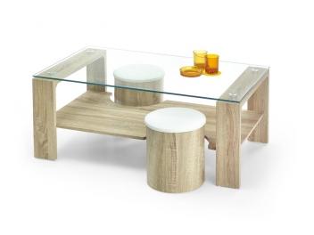 Sklenený konferenčný stolík s taburetmi Sonel