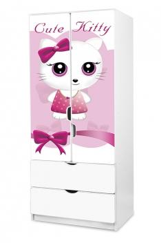 Detská šatníková skriňa Cute Kitty ružová